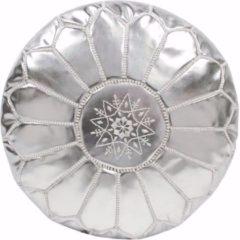 Poufs&Pillows Poef - Zilver - Handgemaakt en Uniek - Gevuld geleverd