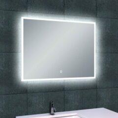 Douche Concurrent Badkamerspiegel Wiesbaden Quatro 80x60cm Geintegreerde LED Verlichting Verwarming Anti Condens Touch Lichtschakelaar Dimbaar