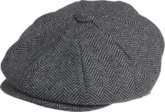Grijze Peaky Blinders PB News Boy Cap Grey Herringbone-M