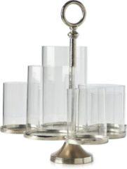 Zilveren Riviera Maison Lisbon Multiple Hurricane - Windlicht - Aluminium; Glas