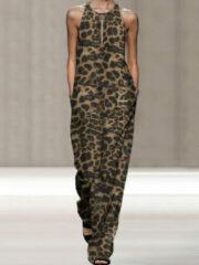Newchic Leopard Print Sleeveless Plus Size Loose Jumpsuit