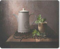 MousePadParadise Muismat Koffie - Koffiepot en glas tussen de koffiebonen muismat rubber - 23x19 cm - Muismat met foto