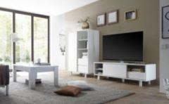 Hochschrank und TV-Element weiss matt lackiert Classico Veneto