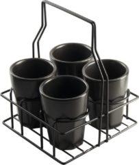 Gusta Koffiekopjes Met Rek Zwart 25 Cl - 4 Stuks
