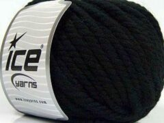 Ice yarns Wol breien met breinaalden maat 10 – 12 mm. – dikke zwarte breiwol kopen pakket van 3 bollen garen 100 gram per bol 100% wol – breigaren van een fijne kwaliteit