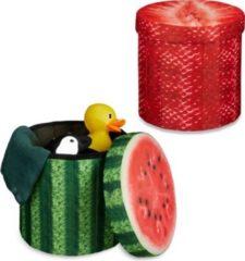 Relaxdays 2x Sitzhocker Sitzwürfel Falthocker Klapphocker rund Stauraum Melone Erdbeere
