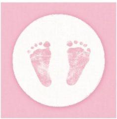 Ambiance servetten Servetten geboorte meisje roze/wit 3-laags 20 stuks
