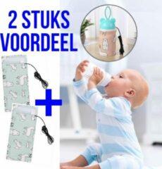 Allernieuwste 2 STUKS USB Baby Fles Warmer model Blauwe Dieren - Heater - Reisaccessoire - Draagbaar - Klittenband - Kleur