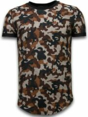 Justing Camouflaged Fashionable T-shirt - Long Fit Shirt Army Pattern - Bruin Camouflaged Fashionable T-shirt - Long Fit Shirt Army Pattern - Bruin Heren T-shirt Maat L