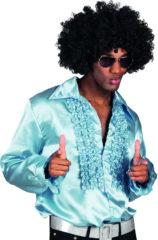 """Zwarte Generik """"Licht blauw disco overhemd voor heren - Verkleedkleding - Medium"""""""