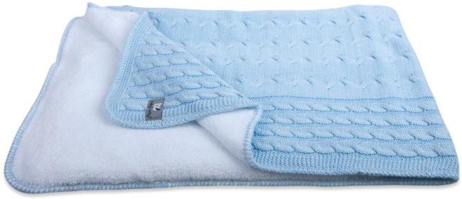 Afbeelding van Lichtblauwe Baby'S Only Dekentje - Deken Ledikant Baby'S Only - Kabel Teddy Babyblauw