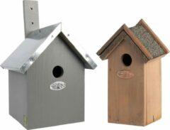Bellatio Design Voordeelset van 2x stuks houten vogelhuisjes/nestkastjes 31 x 18 cm/22 x 16 cm - Met puntdak in grijs en houtkleur