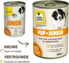 6x VITALstyle Hondenvoer Blik Puppy - Junior 400 gr