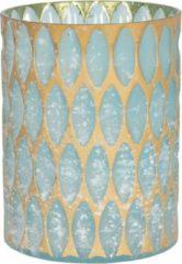 Clayre & Eef Glazen Theelichthouder 6GL2914M Ø 11*15 cm - Blauw Glas Waxinelichthouder Windlichthouder