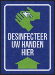 Blauwe MatStyles Vloerkleed Tapijt Message Mat- Desinfecteer uw handen - 115x85 - COVID-19 - Wasbaar
