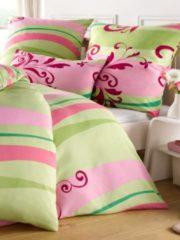Rosa Bettwäsche 'Charlotte' 2tlg. Webschatz grün/pink