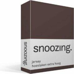 Snoozing jersey hoeslaken extra hoog - 100% gebreide jersey katoen - Lits-jumeaux (160x200 cm) - Bruin