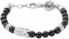 Diesel DX0847040 Armband beads zwart-zilverkleurig 18-19,5 cm