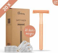 Bamboozy Safety Razor + 20 scheermesjes Rose gold Safety Razor voor vrouwen dames - Veiligheidsscheermes - Scheermes - Scheermesjes - Double Edge - Single Blade - Zero Waste Project - Duurzaam Scheren - Zero Waste Producten