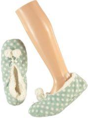 Blauwe Apollo Dames ballerina pantoffels/sloffen stippen mintgroen maat 40-42
