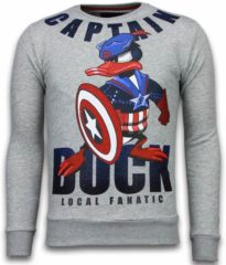 Local Fanatic Captain Duck - Rhinestone Sweater - Grijs Sweaters / Crewnecks Heren Sweater Maat XL