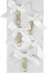 Creotime Paperclips Met Strik 40 X 70 Mm Wit 5 Stuks