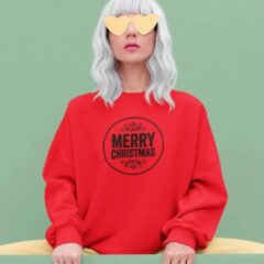 B&C Collection Rode Kersttrui Merry Christmas Black Maat XL