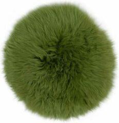 Dutchskins Stoelkussen - zitkussen schapenvacht - groen rond - stoelpad - zetelkussen