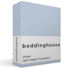 Blauwe Beddinghouse Jersey Split-topper Hoeslaken - 100% Gebreide Jersey Katoen - 2-persoons (140x200/220 Cm) - Light Blue