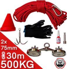 Brute Strength Vismagneet Set - 500 kg trekkracht (2x250kg) - Touw - Dreghaak - Handschoenen - Connector - Prikstok adapter - Schroefdraadborgmiddel - Beschermkap - voor Magneetneetvissen