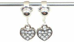 Transparante MNQ bijoux - Clipoorbellen - Oorclips - Kind - Meisje - Verzilverd - Glitterhartjes - Kleurloos - Hangoorbellen
