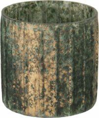 Clayre & Eef Glazen Theelichthouder 6GL3029 Ø 10*10 cm Groen Glas Rond Waxinelichthouder Windlichthouder