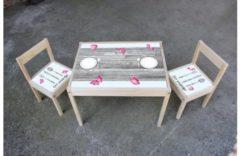 De Fabriek Muurstickers Kinder meubel Houten set steigerhout print met vlinders