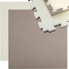 Beige Eyepower Sportmat 90x90cm Sportmat 25mm dik Puzzelmat Omkeerbare vloermat uittrekbaar incl. rand