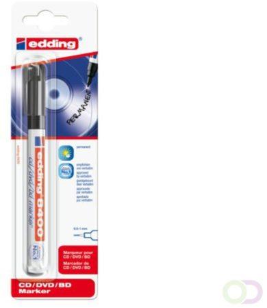 Afbeelding van Edding permanent marker voor CD/DVD/BD e-8400 zwart, op blister