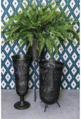 PTMD Doris zwarte metalen plantenbak bloemenpatroon lage voet maat in cm: 32 x 32 x 58 - Zwart