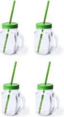 Bellatio Design 4x stuks Glazen Mason Jar drinkbekers groene dop en rietje 500 ml - afsluitbaar/niet lekken/fruit shakes