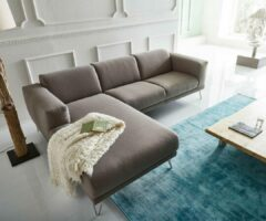 DELIFE Hoekbank Lordina grijs 260x185 cm Bauhaus-stijl Ottomane hoekbank links