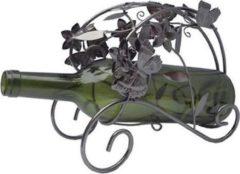 Bruine Home of Decorations Vaderdag kados Metalen wijn fleshouder met vlinders 24,5 x 19 cm.
