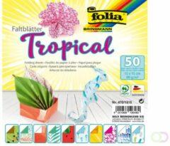 Folia Paper Vouwblaadjes Folia dubbelzijdig Tropical 15x15cm 50vel