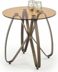 Home Style Bijzettafel Lunga 55x54x55 cm breed in bruin met antiek goud