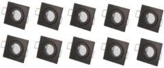 Led-line LED line Inbouwspot - MR11 Fitting - Vierkant - Aluminium - Waterdicht IP44 - Mat Zwart - 10-Pack
