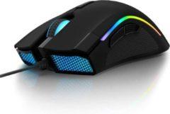 DrPhone IMX10 - RGB Gaming muis met 24.000 DPI - 7 programmeerbare knoppen met software – Bedrade Ergonomische Muis - Zwart