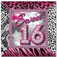 Folat 20x Sweet 16 verjaardagsfeest servetten 25 x 25 cm papier - Verjaardag papieren wegwerp tafeldecoraties