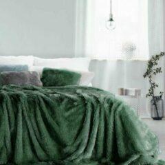 Donkergroene Luxe bed deken Brulo Polyester sprei 200x220 cm Gewicht-240 GSM donker groen