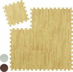 Naturelkleurige Relaxdays 9 x vloerbeschermer puzzelmat - beschermmat fitness - sportmat - puzzel mat