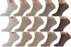 Apollo Sneakersokken - Katoen - Multipack - 15 Paar - Beige Mix - Maat 36-41