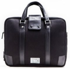 Venque 'Hamptons' - Laptoptas - Aktetas - Messenger Bag - Zwart met Zwart Leer / BE