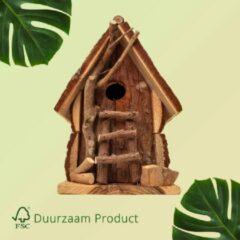 Donkerbruine Duurzaam Vogelhuisje opening van 32 mm Vogel Huisje met houten details | GerichteKeuze
