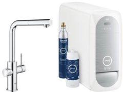 Grohe Blue Home 1-gats keukenkraan m. duo L-uitloop uittrekbaar starterkit m. Wifi bluetooth Chilled & Sparkling 3x gekoeld + 3x bruisend water chroom 31539000